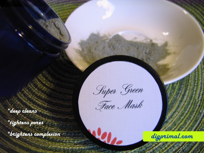 super green face mask with text